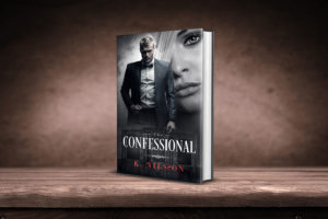 3D IMAGE OF THE CONFESSIONAL BOOK COVER.  SAINT AND GRACE ARE ON THE COVER.  THE CONFESSIONAL IS BEHIND THE TITLE.